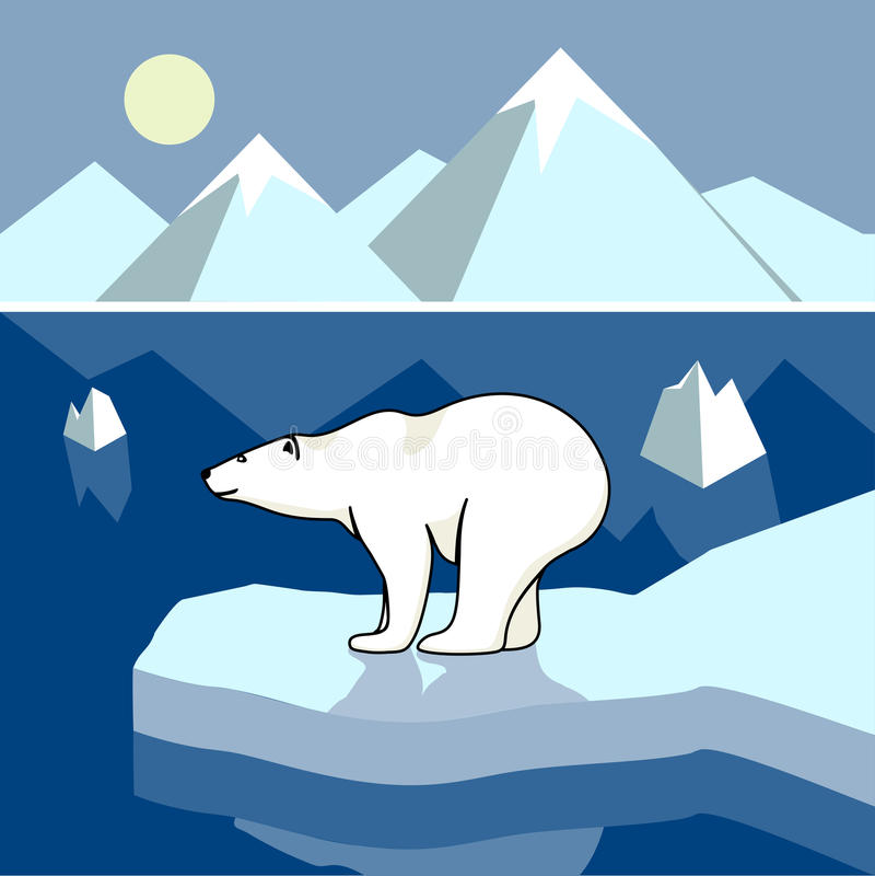 Isbjörn på en isisflak, polart landskap royaltyfri illustrationer