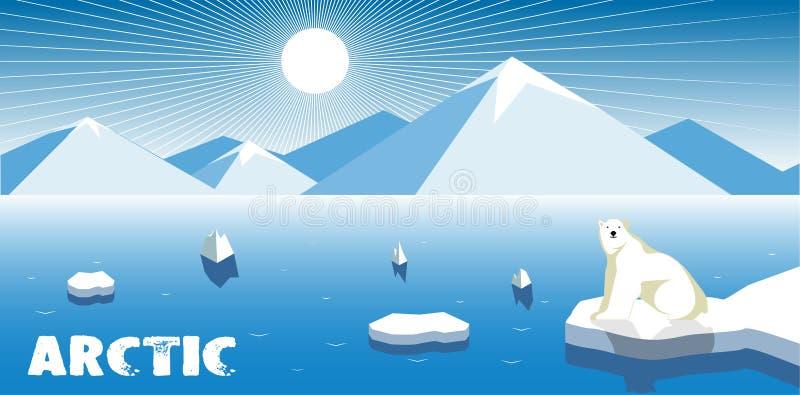 Isbjörn på en isisflak, polart landskap stock illustrationer
