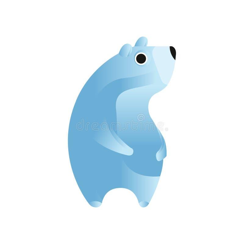 Isbjörn stiliserad geometrisk djur låg poly designvektorillustration stock illustrationer