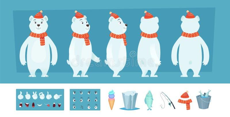 Isbjörnanimering Vita lösa djura kroppsdelar och olik sats för skapelse för framsidavektortecken stock illustrationer