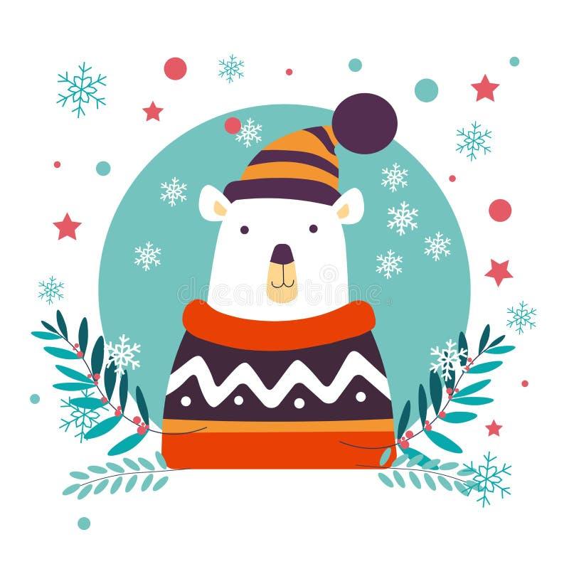 Isbjörnjuldjur som bär den stack tröjan och hatten vektor illustrationer