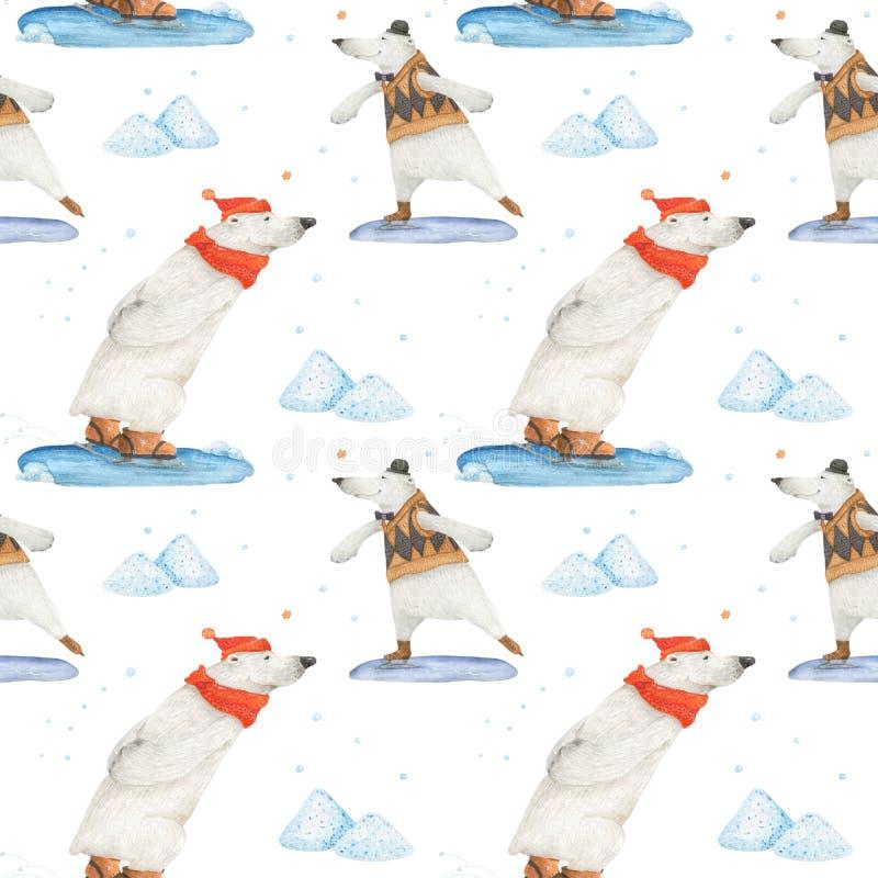 Isbjörnvintergyckel som åker skridskor seamless modell vektor illustrationer