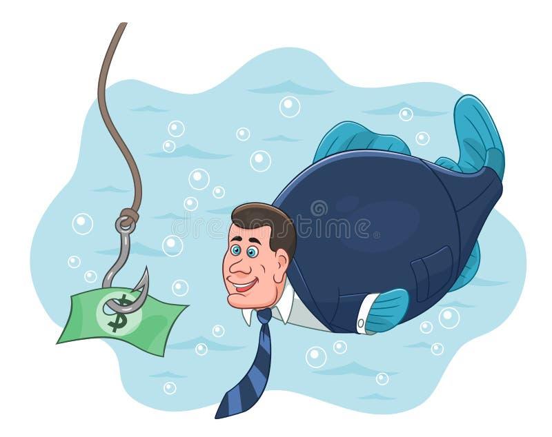 Isca dos peixes e do dinheiro do homem de negócios ilustração stock