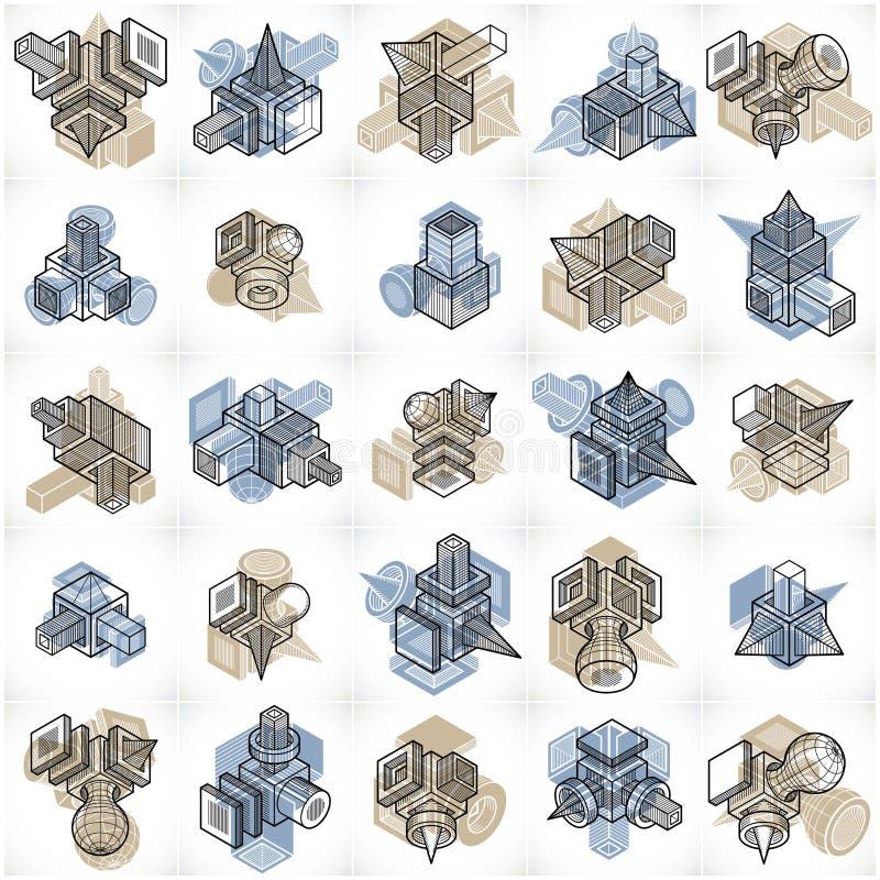 Iscensätta abstrakta geometriska former, ställde enkla vektorer in stock illustrationer