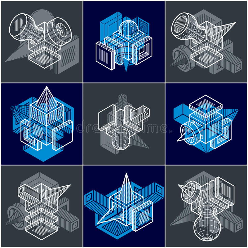 Iscensätta abstrakta geometriska former, ställde enkla vektorer in royaltyfri illustrationer
