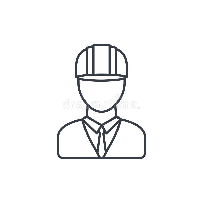 Iscensätta avataren, arkitekt i den tunna linjen symbol för hjälmen Linjärt vektorsymbol stock illustrationer