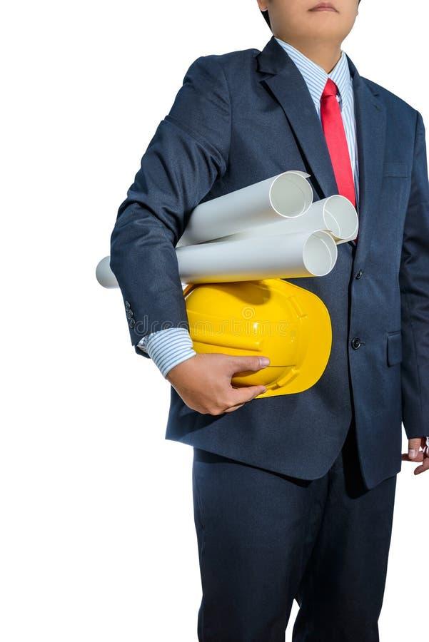 Iscensätta den gula hjälmen för arbetarsäkerhet med konstruktion pl fotografering för bildbyråer