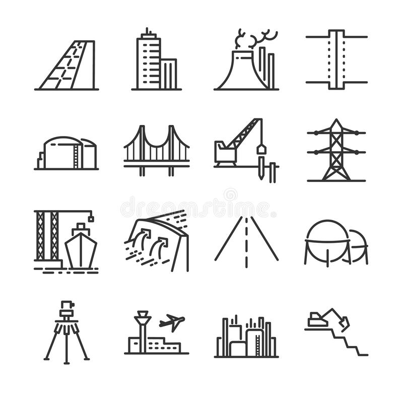Iscensätta linjen symbolsuppsättning Inklusive symbolerna som byggnad, fördämningen, industriellt, silo, kraftverk, gods och mer vektor illustrationer