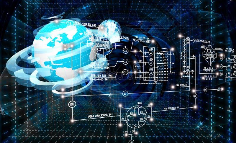 Iscensätta planlägga anslutningstecnology stock illustrationer