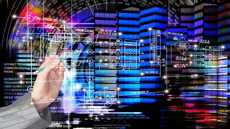 Iscensätta planlägga modern innovationbyggnad Globalisering C royaltyfria foton