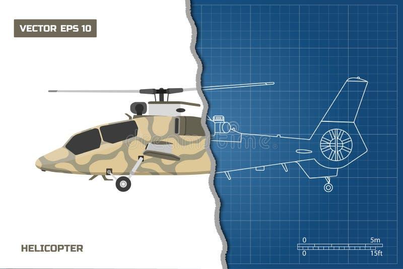 Iscensätta ritningen av den militära helikoptern Helikoptersikt: överkant, sida och framdel teckna som är industriellt stock illustrationer