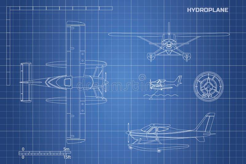 Iscensätta ritningen av nivån Hydroplanesikt: överkant, sida och framdel Industriell teckning av flygplan stock illustrationer