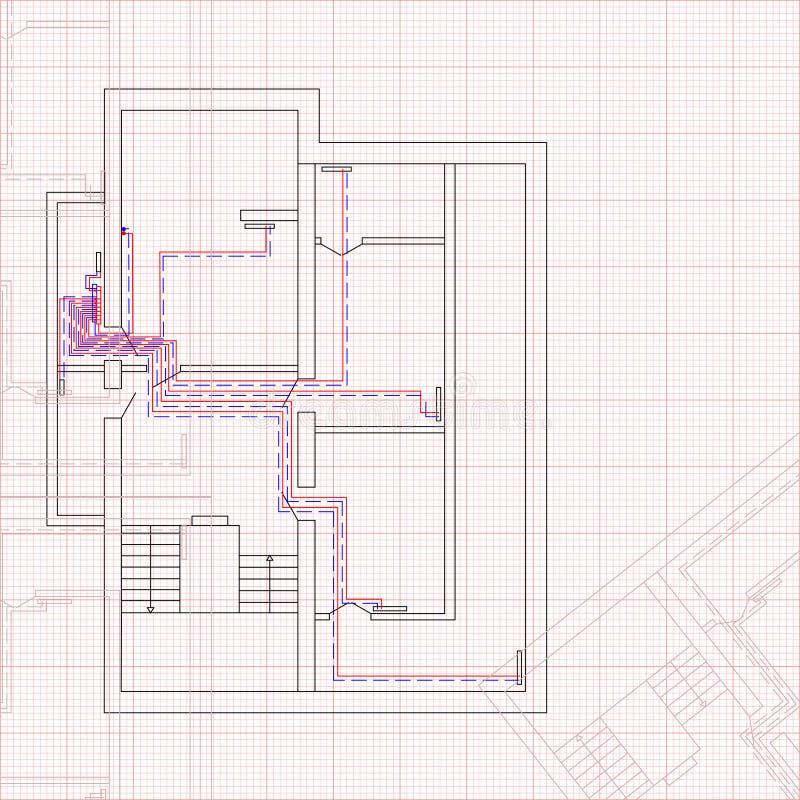 Iscensätta utkastet av uppvärmningsystemet huset Begrepp av konstruktionsritningen vektor illustrationer
