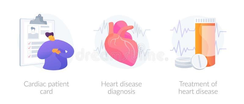Cardiology vector concept metaphors. Ischemic heart disease. Heart care. Cardiovascular disease. Cardiac patient card, Heart disease diagnosis, Treatment of royalty free illustration