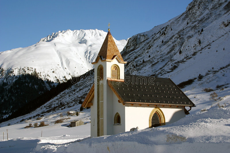 Ischgl Austria Church Snow Drifts stock photography