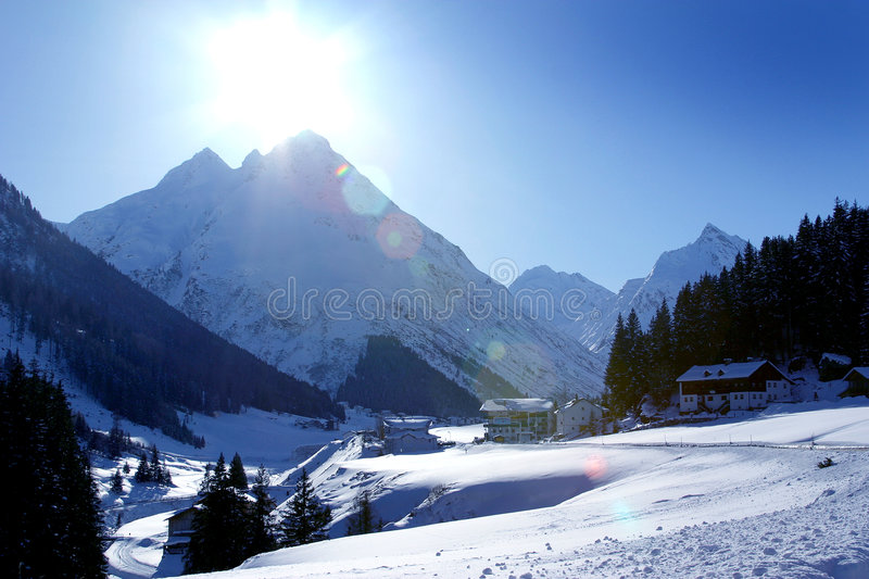 Ischgl Austria Mountain Valley. Snowy Mountain Valley in Ischgl, Austria royalty free stock photography