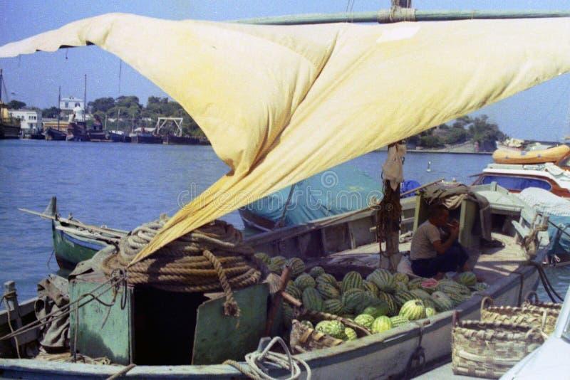 ISCHIA, ИТАЛИЯ, 1975 - shipman освещает сигарету в тени ветрила его арбузов нося шлюпки в порте Ischia стоковые изображения rf