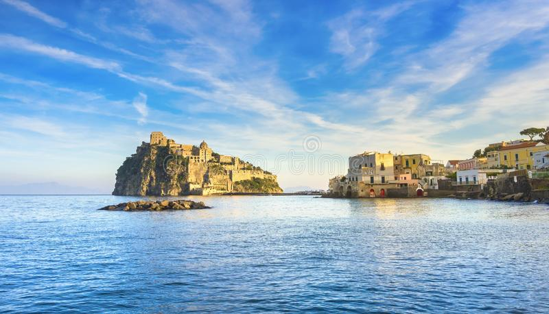 Ischia island and Aragonese medieval castle. Campania, Italy. Ischia island and Aragonese medieval castle or Ischia Ponte. Travel destination near Naples in stock images