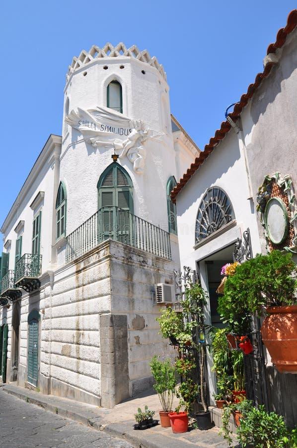 Ischia island street with moorish house Italy stock photo