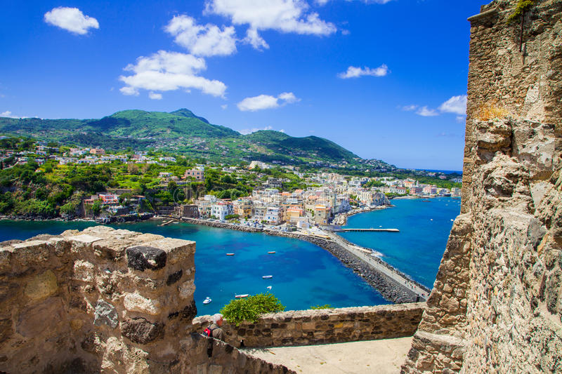 Ischia island - view from castle Aragonese. Italian holidays royalty free stock photography