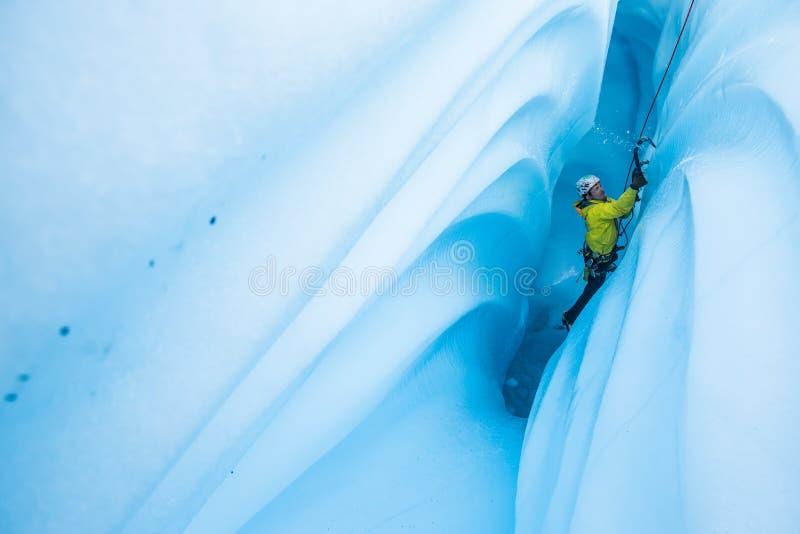 Ischiper flyger, som klättraren stiger en smal kanjon på den Matanuska glaciären royaltyfria foton