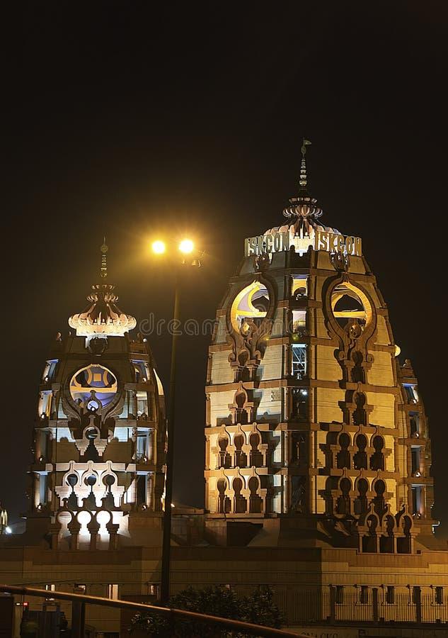 ISCKON Temple At Night, New Delhi Stock Image