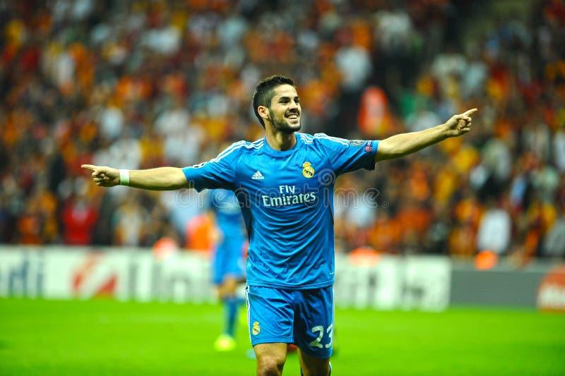 Isco Real Madrid празднуя цель стоковая фотография