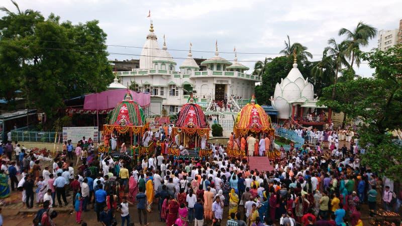 ISCON Rath yatra bhubaneswar. Celebration of Rath yatra at bhubaneswar iscon temple stock images