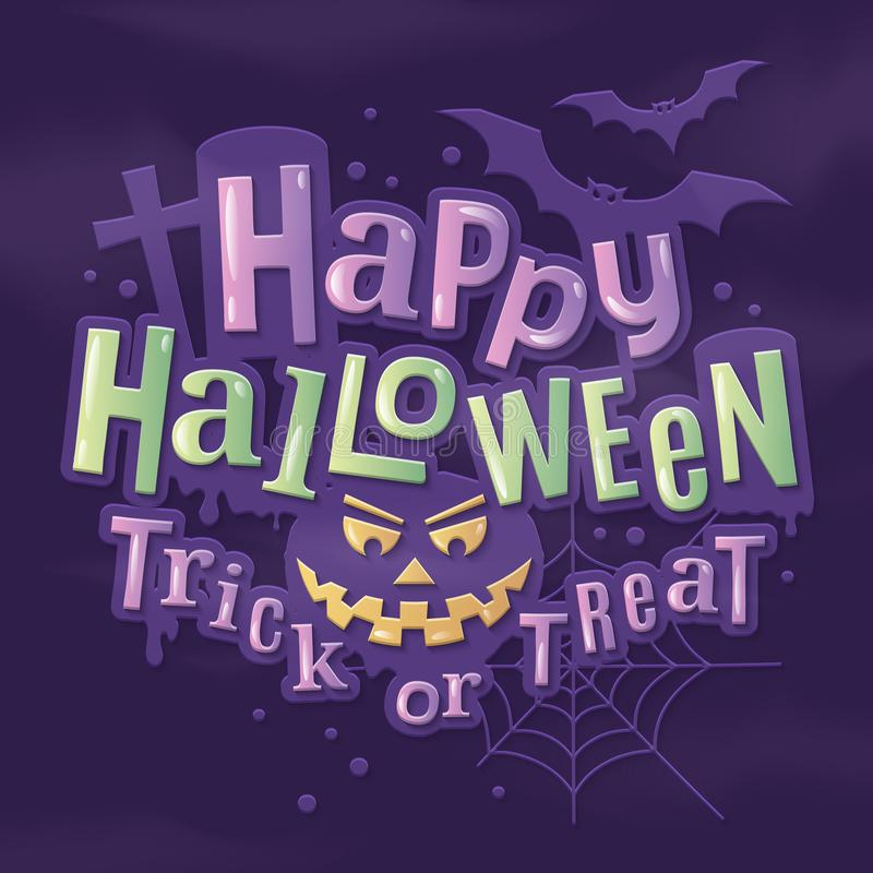 Iscrizione alla moda felice di Halloween con il fronte, i pipistrelli, la ragnatela e la pietra tombale spaventosi della zucca su royalty illustrazione gratis