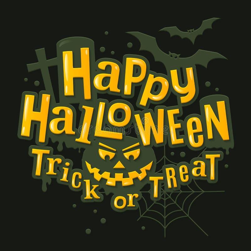 Iscrizione alla moda felice di Halloween con il fronte spaventoso della zucca, royalty illustrazione gratis