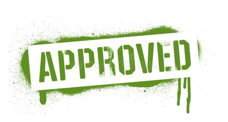 Iscrizione APPROVATA dello stampino Stampa verde dei graffiti su fondo bianco Arte della via di progettazione di vettore illustrazione vettoriale