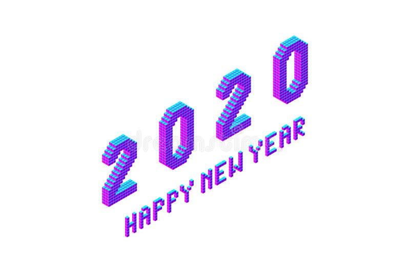 iscrizione audace della fonte del pixel da 2020 buoni anni fotografia stock