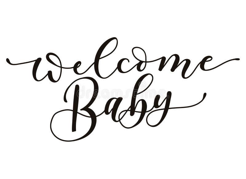 Iscrizione benvenuta dell'iscrizione del bambino isolata su fondo bianco Calligrafia della doccia di bambino per la cartolina d'a illustrazione vettoriale