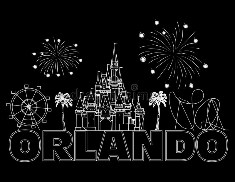 Iscrizione bianca di Orlando sul backround nero Vettore con le icone ed i fuochi d'artificio di viaggio Cartolina di viaggio royalty illustrazione gratis