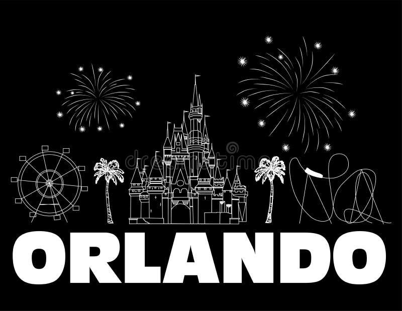 Iscrizione bianca di Orlando sul backround nero Vettore con le icone ed i fuochi d'artificio di viaggio Cartolina di viaggio illustrazione di stock