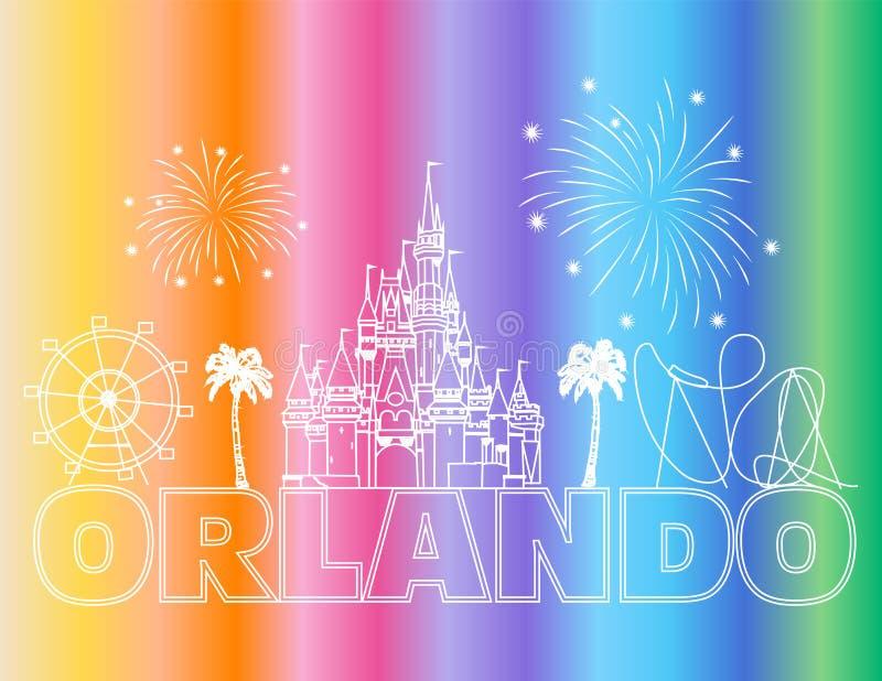 Iscrizione bianca di Orlando sul backround variopinto Vettore con le icone ed i fuochi d'artificio di viaggio Cartolina di viaggi royalty illustrazione gratis