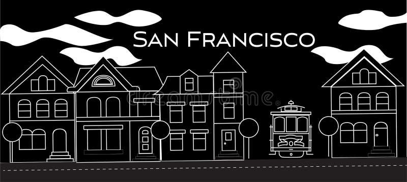 Iscrizione bianca di San Francisco Vettore con le case vittoriane e la cabina di funivia su fondo nero Cartolina di viaggio illustrazione vettoriale