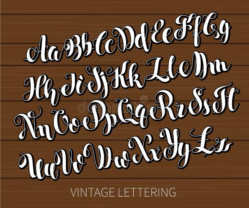 Iscrizione in bianco e nero ABC ha dipinto le lettere Iscrizione spazzolata moderna illustrazione vettoriale