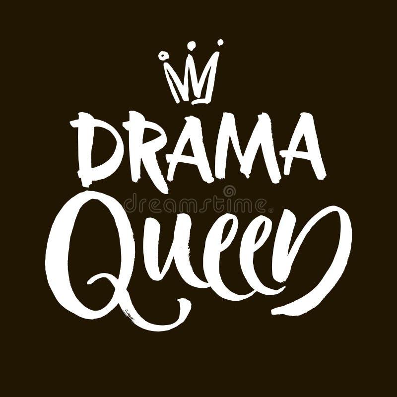 Iscrizione in bianco e nero dell'iscrizione della mano della regina di dramma, citazione positiva motivazionale e ispiratrice scr illustrazione di stock