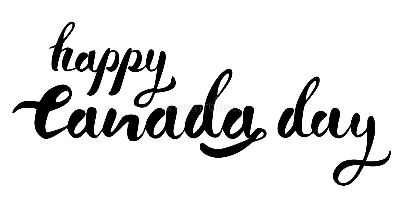 Iscrizione in bianco e nero disegnata a mano di vettore di giorno felice del Canada illustrazione vettoriale