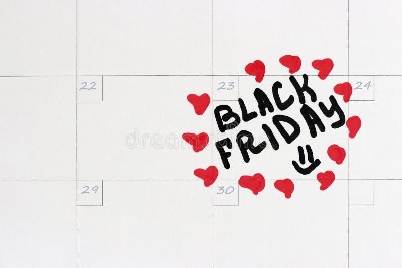 Iscrizione Black Friday sul calendario 2018 immagine stock libera da diritti