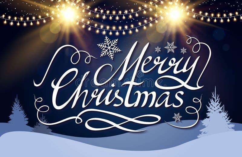 Iscrizione calligrafica di Buon Natale con gli effetti dell'oro e l'inverno eleganti Forest Vintage Shining Design conifero royalty illustrazione gratis