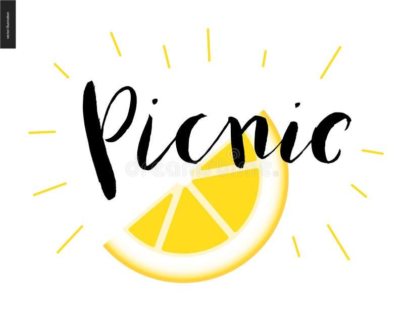 Iscrizione calligrafica di picnic e una fetta di limone royalty illustrazione gratis