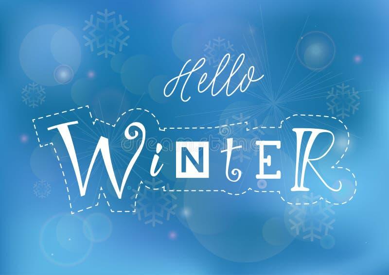 Iscrizione ciao dell'inverno con differenti lettere nel bianco con il profilo tratteggiato su fondo blu illustrazione di stock
