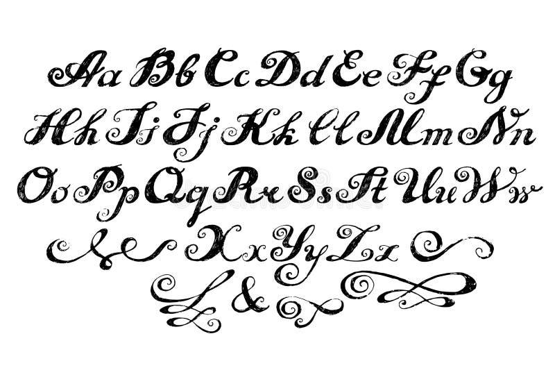 Iscrizione composta alfabeto di calligrafia illustrazione vettoriale