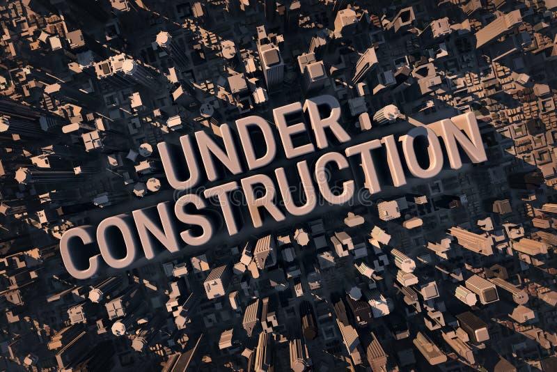 Iscrizione in costruzione situata all'interno di grande città royalty illustrazione gratis