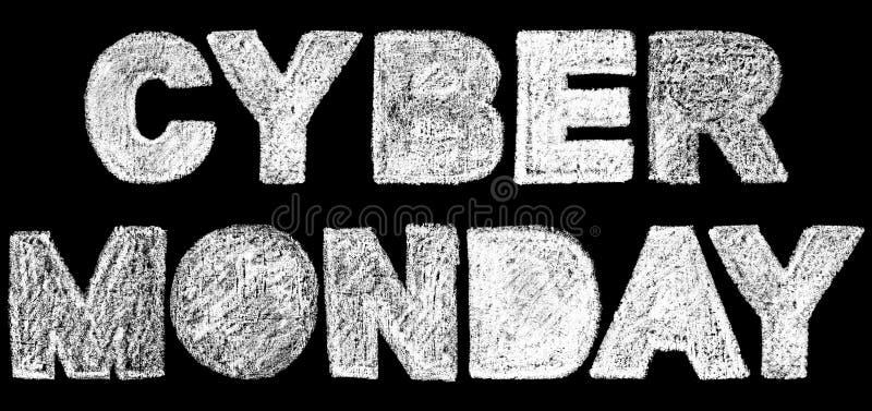 Iscrizione cyber dell'iscrizione del testo in grassetto di lunedì royalty illustrazione gratis