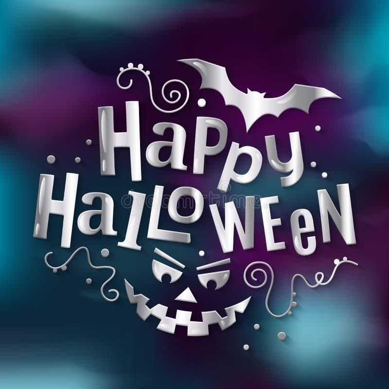 Iscrizione d'argento alla moda felice di Halloween, saluto con il fronte spaventoso della zucca e pipistrello Illustrazione di ve royalty illustrazione gratis