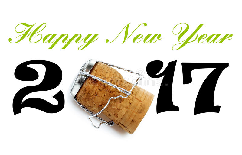Iscrizione 2017 del buon anno con il sughero del champagne fotografia stock