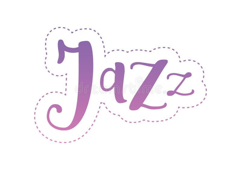 Iscrizione del jazz nella pendenza porpora rosa con il profilo tratteggiato su fondo bianco illustrazione vettoriale